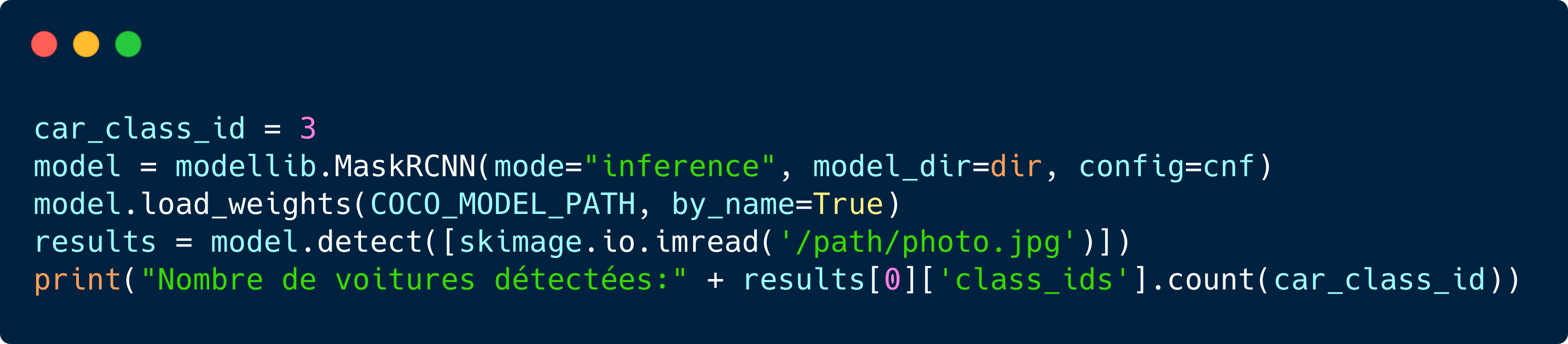 Code basé sur une implémentation en TensorFlow de Mask-RCNN