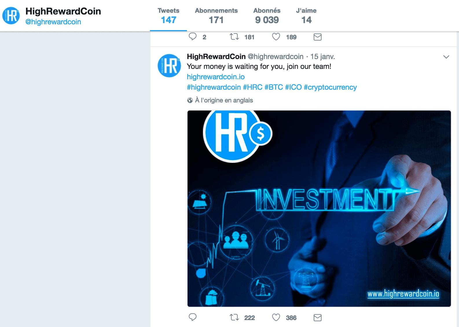 Etude Kernix Twitter : Les cryptomonnaies - Exemple de tweet par HighRewardCoin